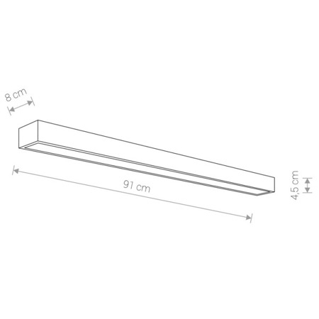 Kinkiet STRAIGHT WALL LED SILVER L 122cm